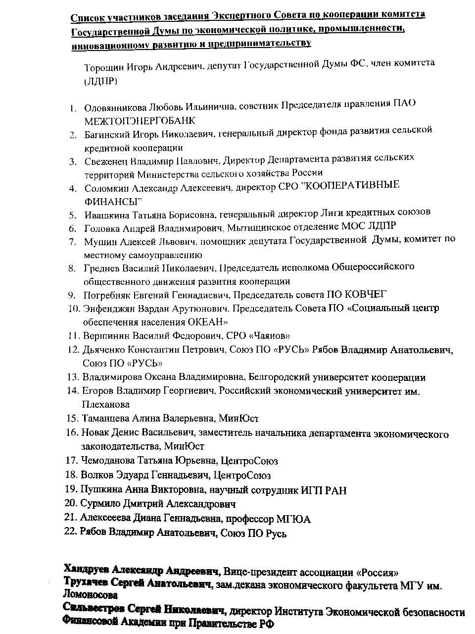 Список присутствовавших